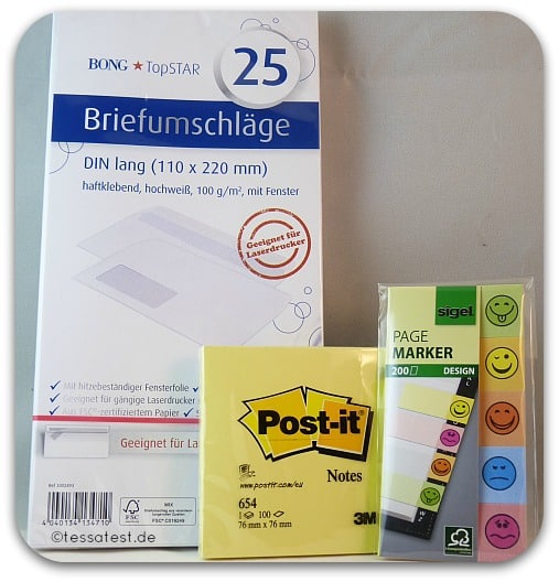 bürobox büroshop 24 unboxing test bericht erfahrung briefumschläge post it page marker